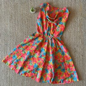 Vintage Handmade Rainbow Floral Fit & Flare Dress